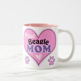 Proud Beagle Mom Two-Tone Coffee Mug