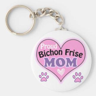 Proud Bichon Frise Mom Basic Round Button Keychain