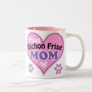 Proud Bichon Frise Mom Two-Tone Coffee Mug