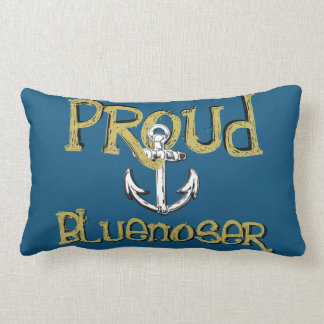 Proud Bluenoser Nova Scotia anchor pillow blue