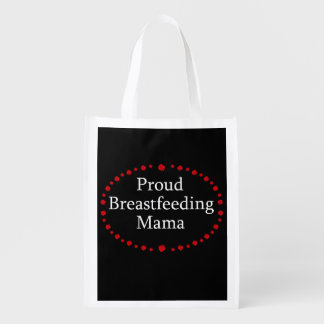 Proud Breastfeeding Mama Red Roses Reusable Grocery Bag