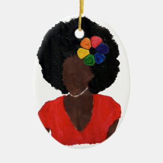 Proud Brown Lady Ceramic Ornament