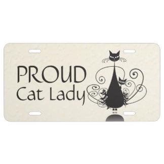 Proud Cat Lady & Black Cat Family License Plate 1