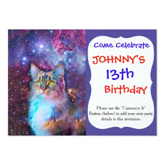 Proud Cat With Space Background Card