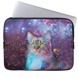 Proud Cat With Space Background Laptop Sleeve