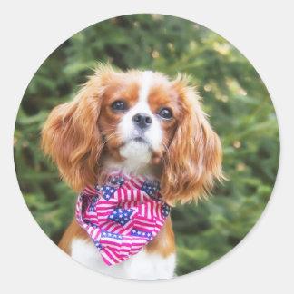 Proud Cavalier King Charles Spaniel Puppy Classic Round Sticker