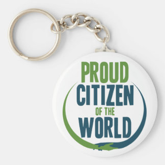 Proud Citizen of the World Basic Round Button Keychain