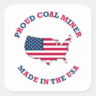 Proud Coal Miner Shield Square Sticker