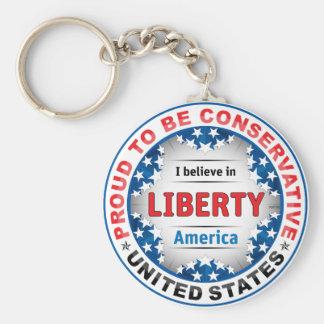 Proud Conservative Basic Round Button Keychain