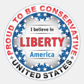 Proud Conservative Classic Round Sticker