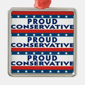 Proud Conservative Square Metal Christmas Ornament
