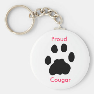 Proud Cougar with paw print Keychain