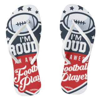 Proud Dad of Football Player flipflops Flip Flops