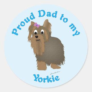 Proud Dad to my Yorkie Round Sticker