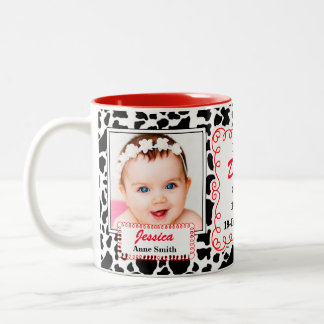 Proud Daddy Western Cow Print with Red and Photos Two-Tone Coffee Mug