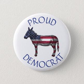 Proud Democrat Donkey American Flag Symbol Button
