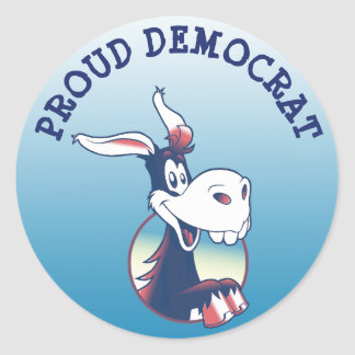 Proud Democrat Political Party Donkey Classic Round Sticker