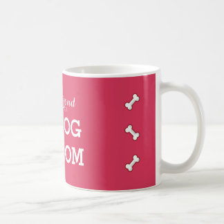 Proud dog mom mug cartoon bone print hot pink