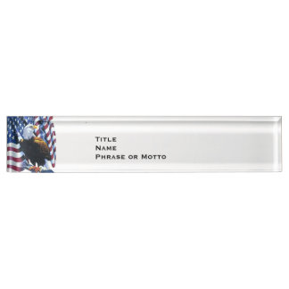 Proud Eagle American Flag USA red white blue Desk Nameplate