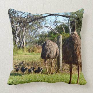 Proud_Emu_Parents_With_Chicks_Large_Lounge_Cushion Throw Pillow