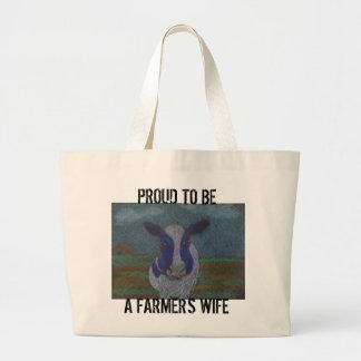 Proud Farmer Dairy Cow Large Tote Bag