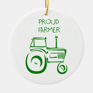 Proud Farmer Tractor Ceramic Ornament