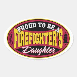 Proud Firefighter Daughter Oval Sticker