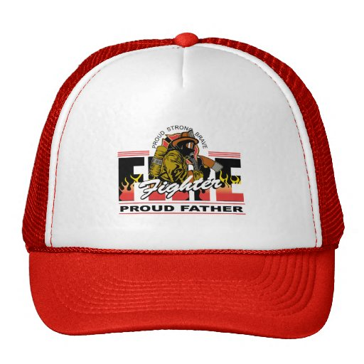 Proud Firefighter Father Mesh Hats