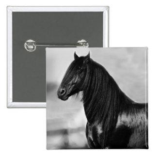 Proud Friesian black stallion horse Pin