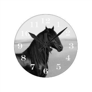 Proud Friesian black stallion horse Round Clock