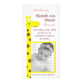 Proud Giraffe Baby announcement Custom Photo Card