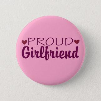 Proud girlfriend cute heart pink button