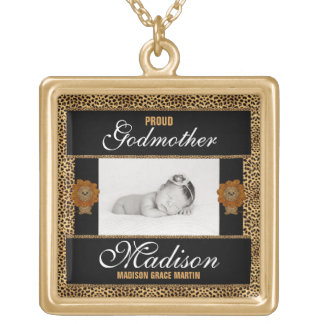 Proud Godmother Cheetah Print Personalized Photo Gold Plated Necklace