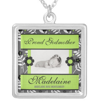 Proud Godmother Green Floral Personalized Photo Silver Plated Necklace