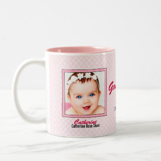 Proud Godmother - Pink Gingham Two Baby Photos Two-Tone Coffee Mug