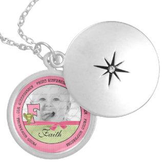 "Proud Godmother Pink Monogram ""F"" Photo Locket"