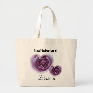 Proud Godmother - Purple Hearts Large Tote Bag