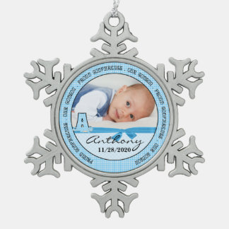Proud Godparents in Blue Checks and Monogram A Snowflake Pewter Christmas Ornament