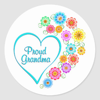 Proud Grandma Heart Classic Round Sticker