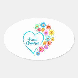 Proud Grandma Heart Oval Sticker