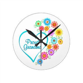 Proud Grandma Heart Round Clock