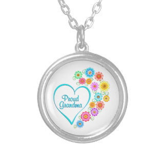 Proud Grandma Heart Silver Plated Necklace