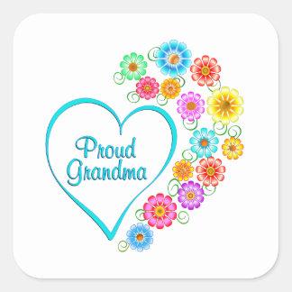 Proud Grandma Heart Square Sticker