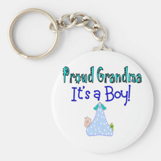 "Proud Grandma, ""It's a Boy!"" Gifts Keychain"