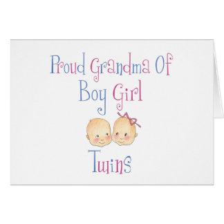 Proud Grandma of Boy Girl Twins Card