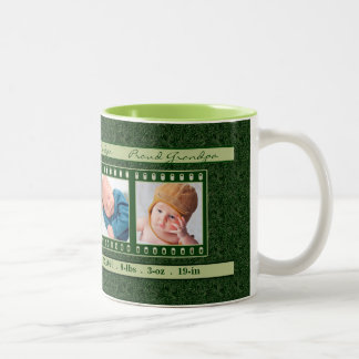 Proud Grandpa 4 Photo Mug Deep Vintage Green