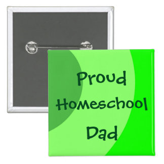 Proud Homeschool Dad Green Swirls 2 Inch Square Button