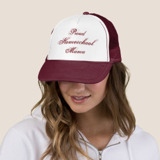 Proud Homeschool Mama White and Maroon Trucker Hat