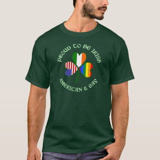 Proud Irish American & Gay Lite Green T-Shirt