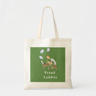 Proud Luddite With Guy at Typewriter Tote Bag